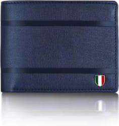 GIOVANNY Men Blue Genuine Leather Wallet 3 Card Slots