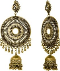 Alysa Oxidized Mayur Earring Silver, Alloy Drops & Danglers