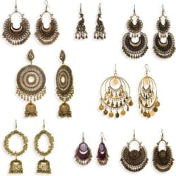 Alysa Combo of 8 pair oxidized earrings Silver, Alloy Chandbali Earring