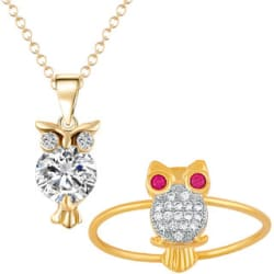 Mahi Gold Plated Combo of Hooting Nocturnal Owl Pendant and Finger Ring with CZ and Crystal for Girls CO1104844G