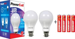 PowerCell 7 W LED Bulb Pack of 2 with Free 4 Batteries White, Pack of 2