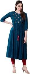 Janakdulari Creation Women Embroidered Flared Kurta Dark Blue