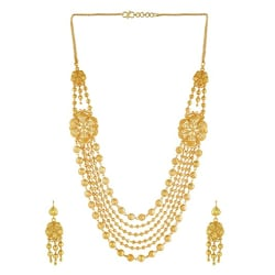 Manikya Golden Brass Bridal Collection Traditional Long Haram Necklace Jewellery Set with Matching Earrings for Women