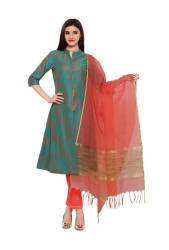 Inddus Teal Green Printed Unstitched Dress Material