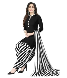 shree jeenmata collection Black,White Synthetic Dress Material - Buy shree jeenmata collection Black,White Synthetic Dress Material Online at Best Prices in India on Snapdeal