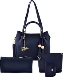 LaFille Women Blue Hand-held Bag(Pack of: 4)