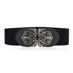 ElectomaniaWomen s leather stretch belt dress retro stretch wide belt girth