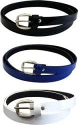 popo Women Casual White, Blue, Black Artificial Leather Belt