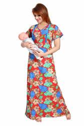 Soulemo Womens Soft & Premium Poly-Cotton Feeding Nighty/Maternity Dress. 589