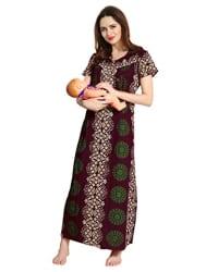 AV2 Women Printed Feeding/Nursing/Maternity Nighty 1183
