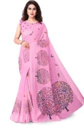 Mirchi Fashion Printed Fashion Cotton Blend, Polycotton Saree Pink