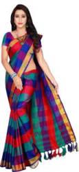 Shaibo saree Checkered Daily Wear Cotton Silk Saree Multicolor