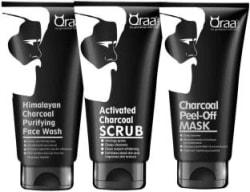 qraa Charcoal Kit: Charcoal Scrub, Charcoal Face wash, Charcoal Peel-off Mask For Men-With Tea tree oil 3 Items in the set