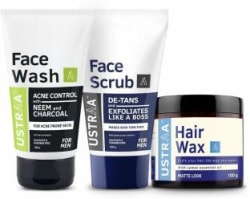 Ustraa Face Wash (Neem & Charcoal), Face Scrub and Hair Wax- Matte Look 3 Items in the set