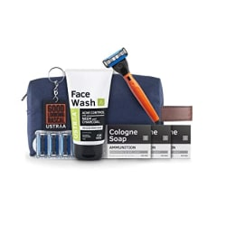 Ustraa Shave and Wash Kit - (Gear - 5 Blade Razor, Pack of 4 Cartridges, 3 Cologne Soap, Face Wash), Free Keychain and Toiletry Kit Bag
