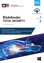 BitDefender 1 User, 3 Years Total Security (Windows) Latest Version with Ransomware Protection - (Email Delivery in 2 hours - No CD)
