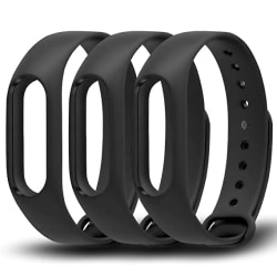 Awinner Colorful Waterproof Replacement Bands for Xiaomi Mi Band 2 Smart Miband 2nd (No Activity Tracker) (3-Black)