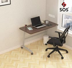 SOS Spacewood LiteOffice Foldable Mobile Desk Home and Office Table (Lorraine Walnut)