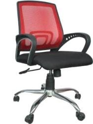 Rajpura Voom Medium Back Revolving Chair with Centre Tilt Mechanism in Black fabric & Red mesh/net back Fabric Office Executive Chair Red, Black