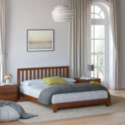 Flipkart Perfect Homes PureWood Acacia Queen Low Bed Finish Color - Natural