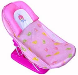 Guru Kripa Baby Products Mastela Baby Infant Bathing Seat Traning Seat Baby Nursing Compact Delux Baby Bather With Removable Head Support Cushion Infant Bath Chair Todler The Bubbly Baby Bath (0 Month+) (Pink) Pink