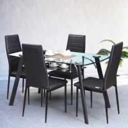 RoyalOak Poznan Metal 4 Seater Dining Set Finish Color - Black