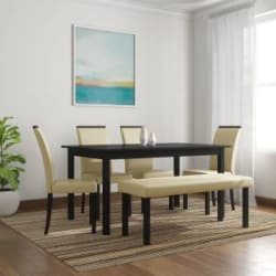 Flipkart Perfect Homes Arranmore Solid Wood 6 Seater Dining Set Finish Color - Walnut