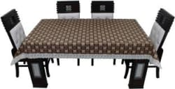 KingMatters Printed 6 Seater Table Cover Brown, Multicolor, PVC