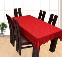 Yellow Weaves Printed 6 Seater Table Cover Maroon, Cotton
