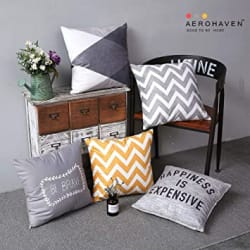 AEROHAVEN Satin Decorative Throw Pillow/Cushion Covers (12 x 12 Inches, Multicolour) - Set of 5