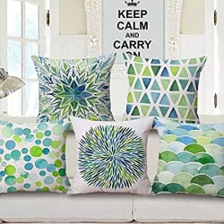 AEROHAVEN™ Set of 5 Decorative Hand Made Velvet Throw/Pillow Cushion Covers - CC-44 - (Sea Green, 16 Inch x 16 Inch)