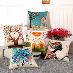 AEROHAVEN™ Set of 5 Abstract Decorative Hand Made Jute Throw/Pillow Cushion Covers - (Multicolor, 12 Inch x 12 Inch)