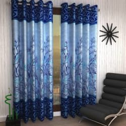 Home Sizzler 214 cm (7 ft) Polyester Door Curtain (Pack Of 2) Floral, Blue