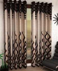 Home Sizzler 153 cm (5 ft) Polyester Window Curtain (Pack Of 2) Abstract, Brown