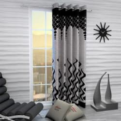 Home Sizzler 214 cm (7 ft) Polyester Door Curtain Single Curtain Printed, Black
