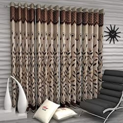 Home Sizzler Floral 4 Piece Eyelet Polyester Door Curtain Set - 7ft, Brown
