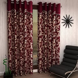 Home Sizzler 2 Piece Eyelet Polyester Scroll Frill Door Curtain Set - 7ft, Maroon