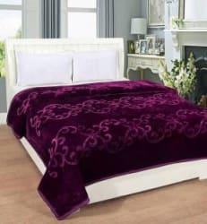Divya Enterprises Floral Double Mink Blanket Microfiber, WINE