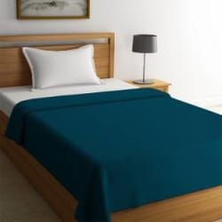 STELLAR HOME Solid Single Fleece Blanket Polyester, Blue Coral