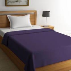 STELLAR HOME Solid Single Fleece Blanket(Polyester, Purple Passion)
