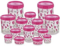 Polyset Twisty-Valley of Tulip - 8600 ml Plastic Grocery Container Pack of 14, Pink