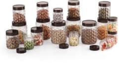 MASTERCOOK 18 PC PET JARS SET - 250 ml, 600 ml, 1200 ml Plastic Grocery Container Pack of 18, Clear