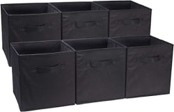 AmazonBasics Foldable Storage Cubes - 6-Pack, Black