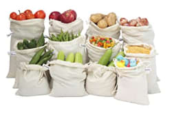 Beddify 100% Cotton Set of 12 Reusable Fridge Storage Bags for Vegetables and Fruits Premium Quality Multipurpose Eco Friendly Bag (4 Small, 4 Medium & 4 Large Size Bag)