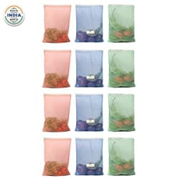 HomeStrap Reusable Mesh Fridge Storage Bags for Fruits and Vegetables(Multicolour, Standard) - Set of 12