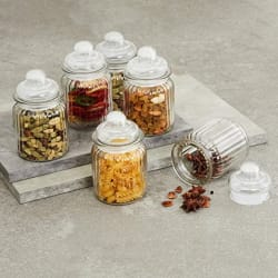 Home Centre Mimosa Storage Glass Jars - Set of 6 Pcs (250 ml) - Transparent + Home Centre Marley-Mimosa Round Storage Jar Set-6 Pcs-650ml-Transparent