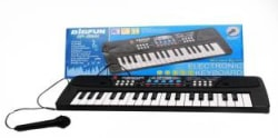 BIGFUN 37 Keys Piano Electiric Keyboard With Recording And Mic & Mobile Charger Power Option Battery (Black) Black
