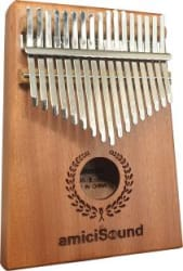 amiciSound Thumb Piano 17 Keys Musical Instrument Kalimba with Engraved Notes and Tuning Hammer Brown