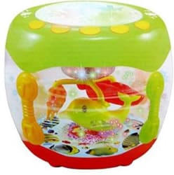 BE YOU OWN LABEL Musical light drum with rotating fish Multicolor