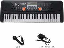 Fiddlerz 49 Key Piano Keyboard Toy for Kids Dc Power Option + Recording + Microphone Black